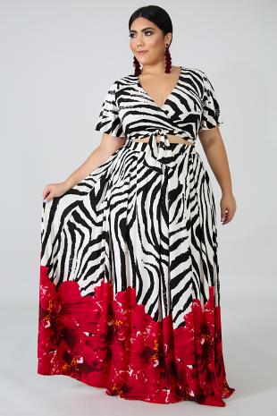 Oversize Floral Maxi Skirt Set