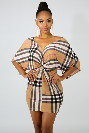 Elegance Plaid Twist Dress