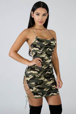 Camouflage Strap Body-Con Dress