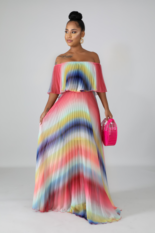 Flowing Pleated Maxi Dress