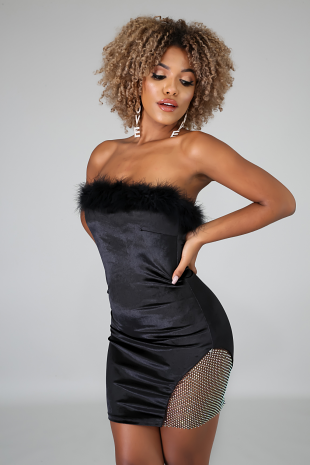 Feathery Suede Tube Dress