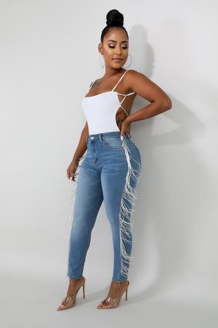 Bead Fringe Jeans
