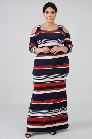 Stripe Cold Shoulders Maxi Dress