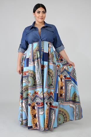 Denim Handkerchief Maxi Dress