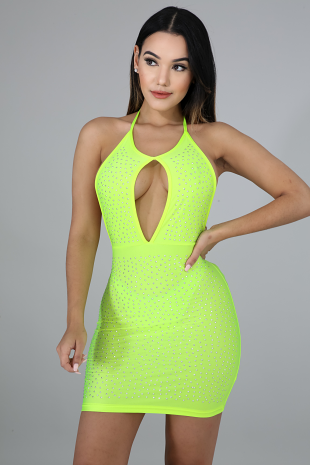Neon Rhinestone Mini Dress