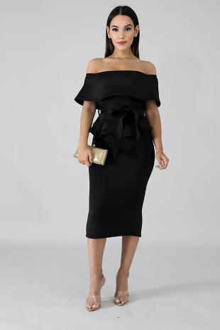 Ruffled Scuba Skirt Set