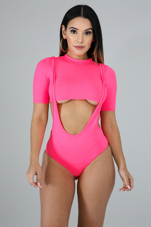 Neon Plunging Bodysuit Set