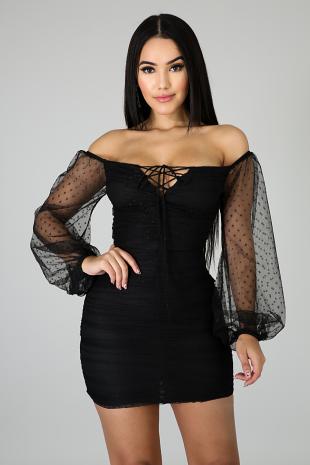 Polka Dot Scrunched Up Dress
