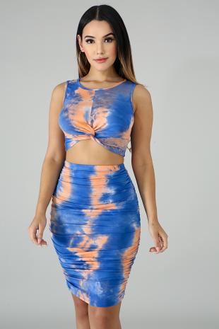 Twist Tie Dye Skirt Set