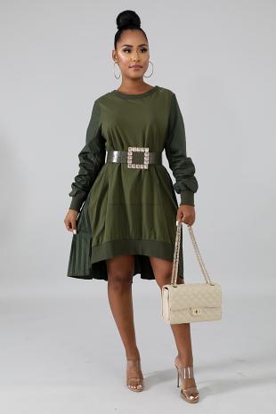 Pleated Jersey Dress