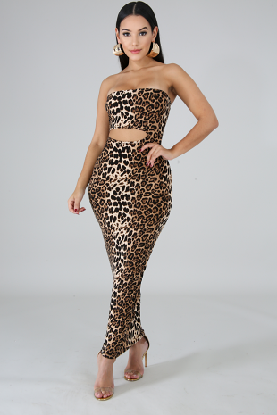 Cheetah Tube Midi Dress