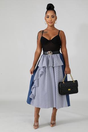 Pleated Ruffle Maxi Skirt