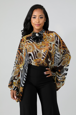 Brocade Sheer Top