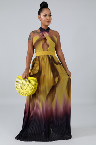 Pleated Drone Maxi Dress