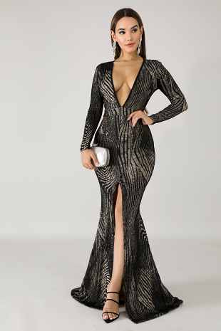 Sequin Sheer Trim Maxi Dress