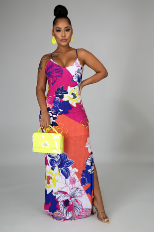 Blooming Slit Dress