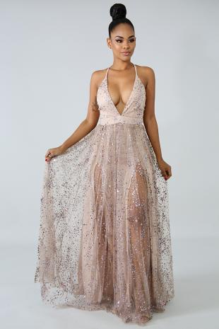 Glitter Stars Maxi Dress