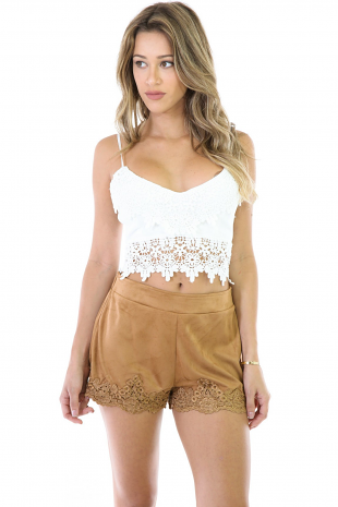 Floral Suede Shorts