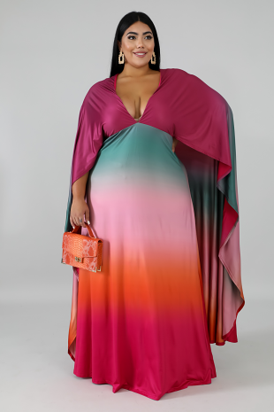 Color Cape Maxi Dress