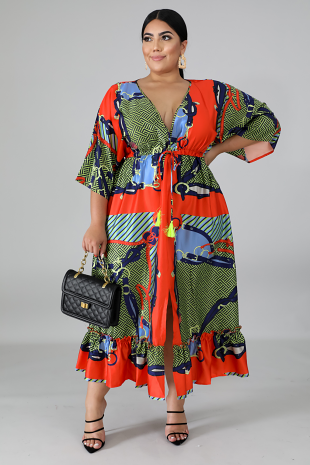 Kimono Chained Flare Dress