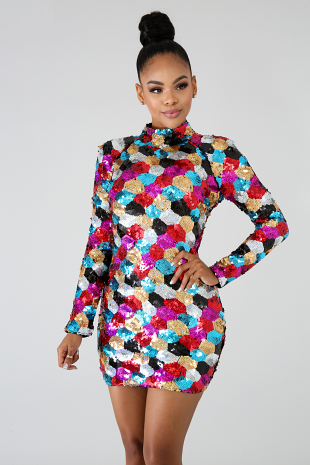 Color Sequin Scales Body-Con Dress