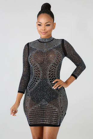 Chillax Rhinestone Body-Con Dress