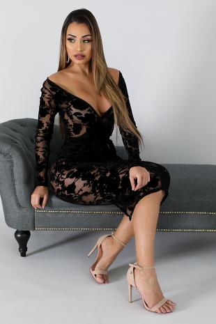 Sheer Suede Body-Con Dress