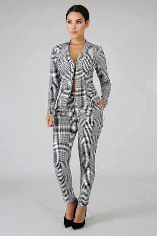 Hounds Tooth Blazer Set