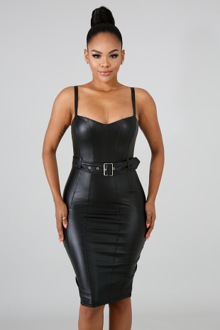Belted Leatherette Dress