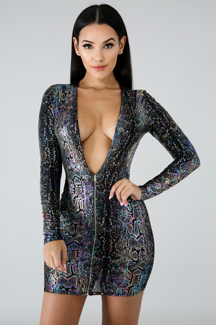 Foil Shine Mini Dress