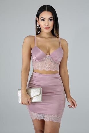 Silky Lace Skirt Set