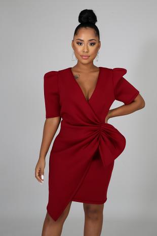 Bow Pleats Dress