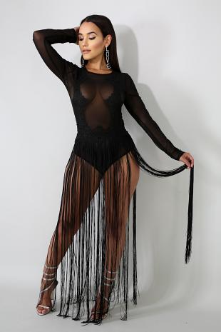 Sheer Lace Fringe Bodysuit