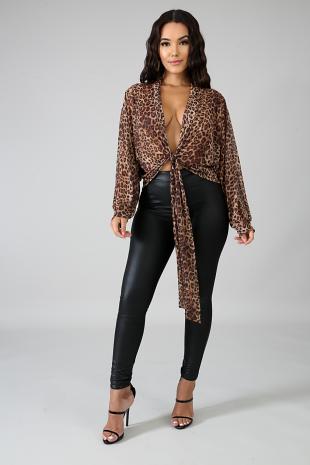 Cheetah Kimono Top