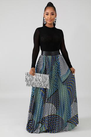 Leatherette Pattern Maxi Skirt
