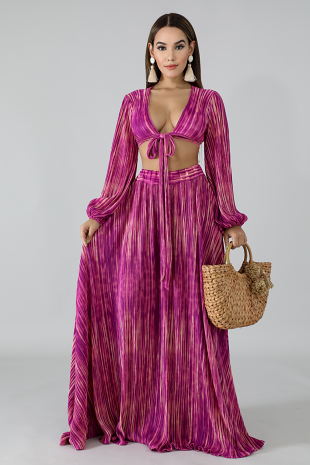 Pleated Stripe Maxi Skirt Set