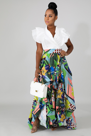 Floral Ruched Maxi Skirt