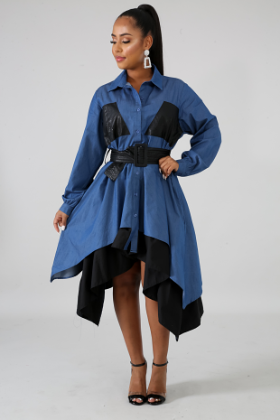 Denim Leatherette Flare Dress (PLUS SIZE)