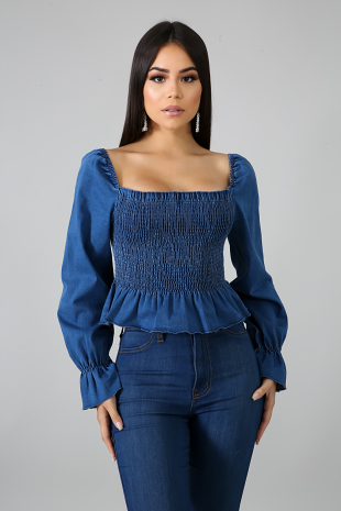 Accordion Denim Top