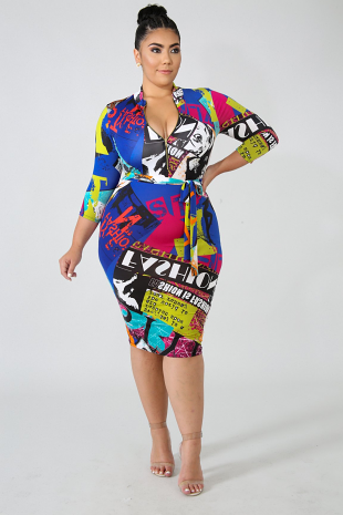 Front Page Body-Con Dress