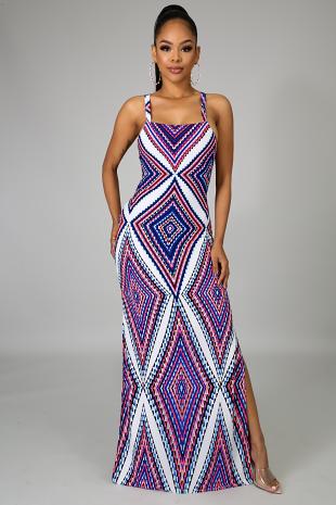 Shevron Scallop Dress
