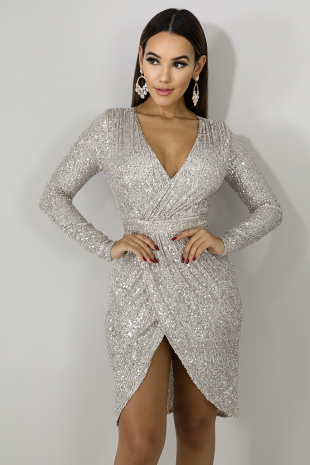 Sequin Clinched Dress