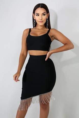 Rhinestone Fringe Bondage Skirt Set