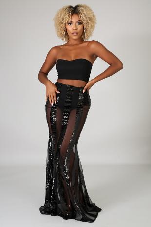 Sequin Stripe Maxi Skirt Set