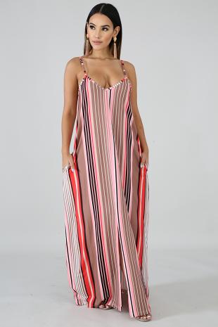 Flannel Stripe Slit Dress