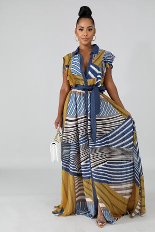 Flutter Chevron Maxi Dress
