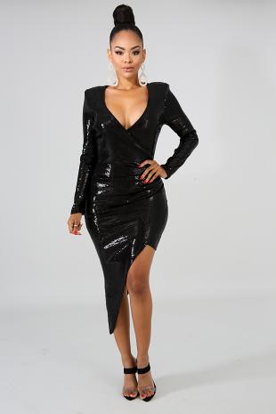 Sequin Glam Drop Midi Dress