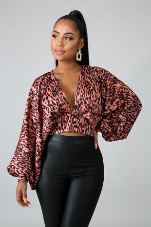 Cheetah Kimono Crop Top