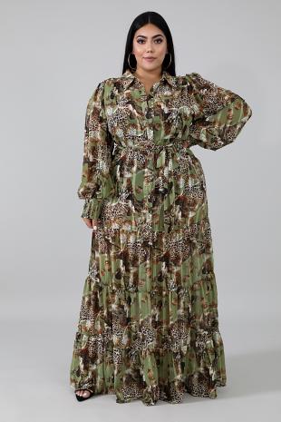 Wild Leaves Maxi Dress