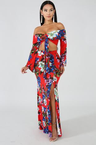 Iris Floral Maxi Skirt Set